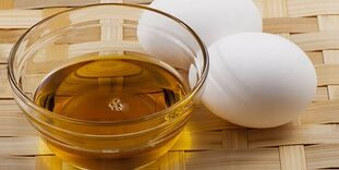 Eggs with oil for the preparation of healing ointment.